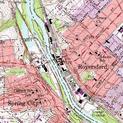 Topographic Map of Royersford Police Station, PA