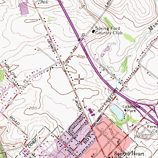 Topographic Map of Royersford Post Office, PA