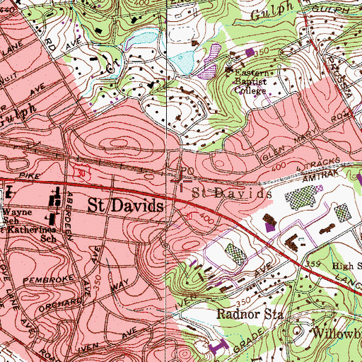 Topographic Map of Saint Davids Post Office, PA
