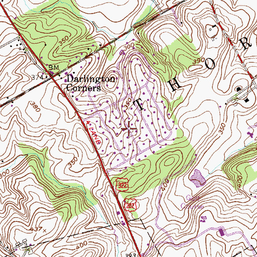 Topographic Map of Thornbury, PA