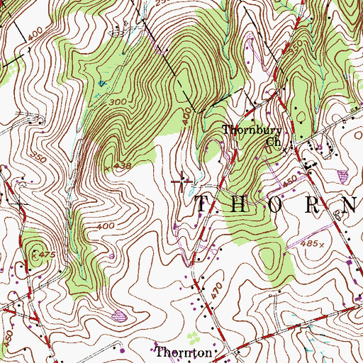 Topographic Map of Thornbury Hunt, PA