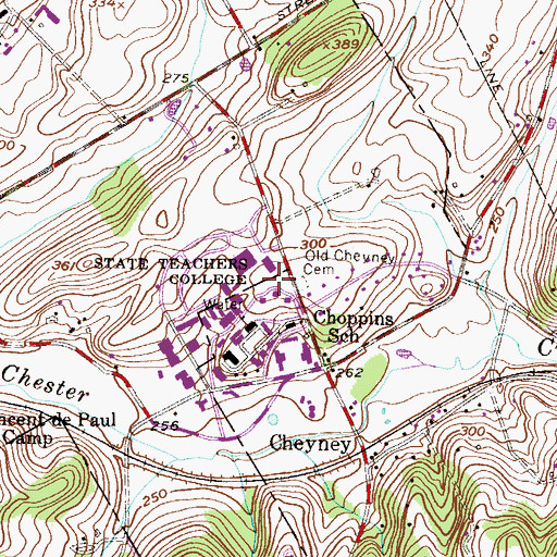 Topographic Map of Thornbury Township Building, PA