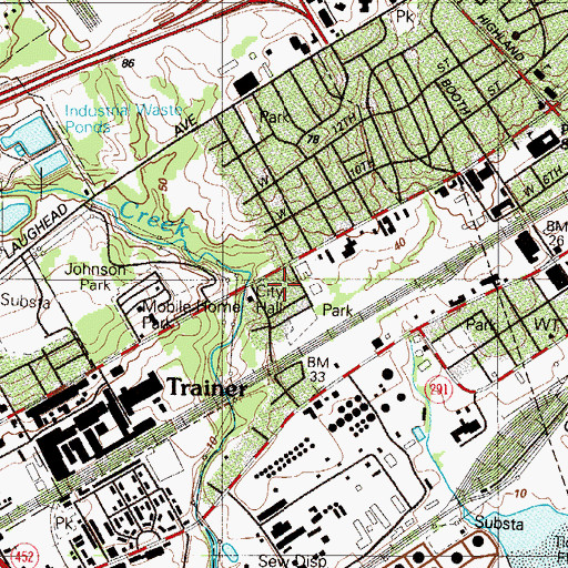Topographic Map of Trainer Borough Hall, PA