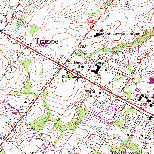 Topographic Map of Trappe Center Shopping Center, PA