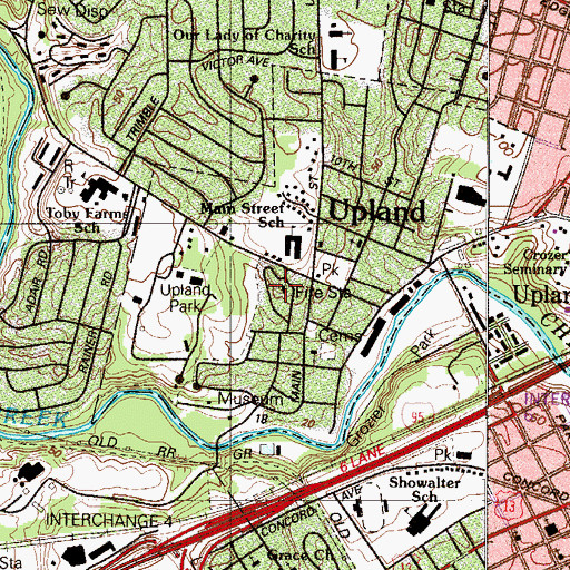 Topographic Map of Upland Fire Company Station 57, PA