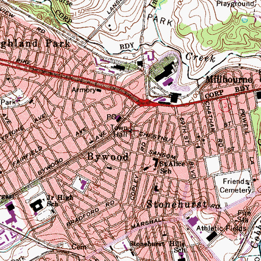 Topographic Map of Upper Darby Township Building, PA