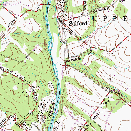 Topographic Map of Upper Salford Township Hall, PA