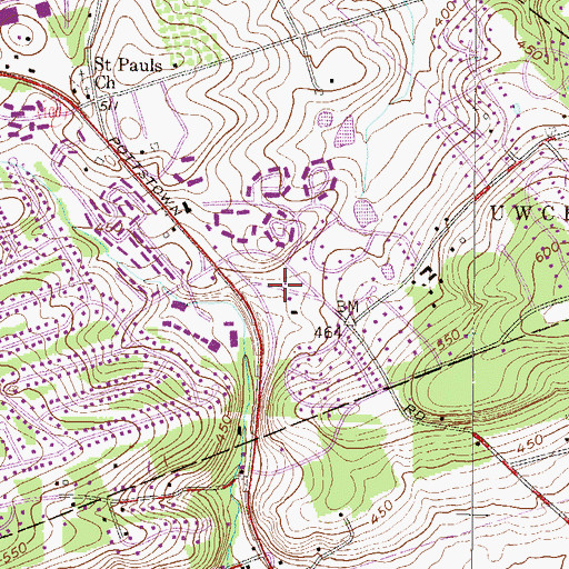 Topographic Map of Uwchlan Township Building, PA