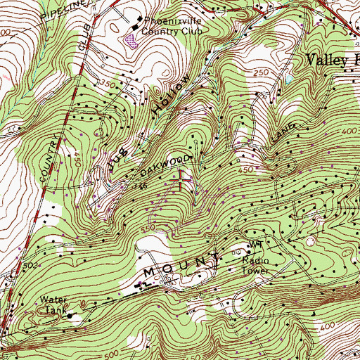 Topographic Map of Valley Forge Mountain North, PA