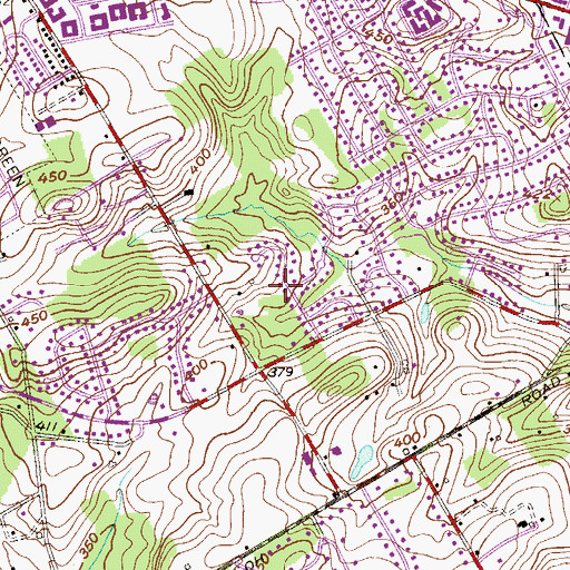 Topographic Map of Westtown Acres, PA