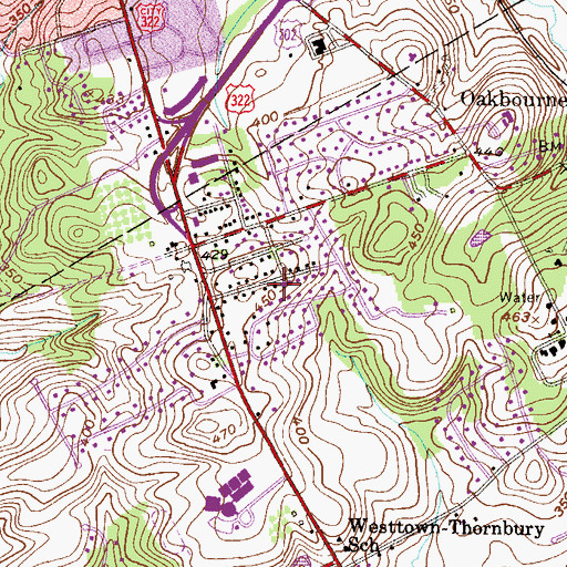 Topographic Map of Westtown Park, PA