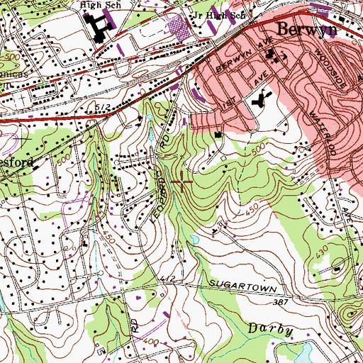 Topographic Map of Whitlock Center Devereux School, PA