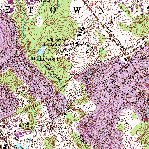 Topographic Map of Williamson School Station, PA