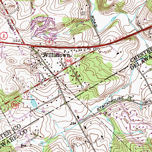 Topographic Map of Willistown Knoll, PA