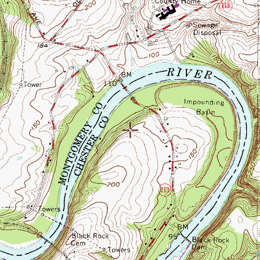 Topographic Map of Winding River, PA