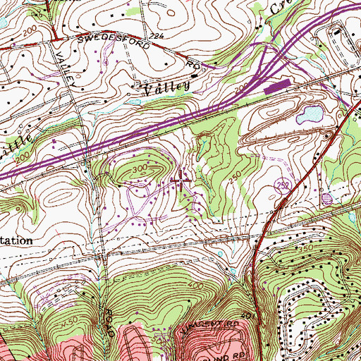 Topographic Map of Valley Greene, PA