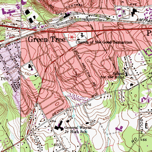 Topographic Map of Village Builders, PA