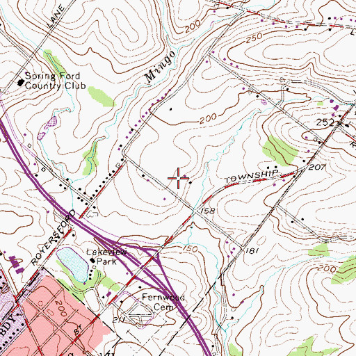 Topographic Map of Walnut Crossing, PA