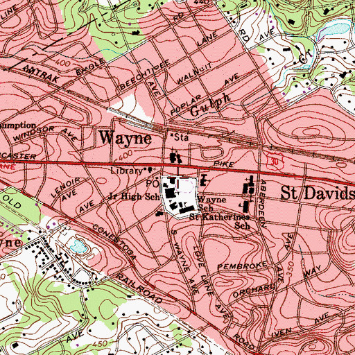 Topographic Map of Wayne Police Station, PA