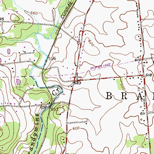 Topographic Map of West Brandywine Township Building, PA
