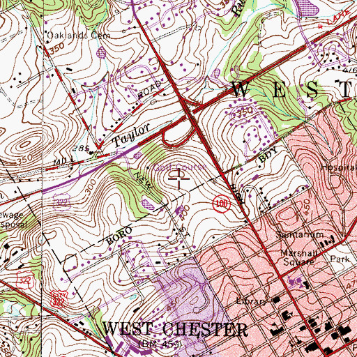 Topographic Map of West Chester Country Club, PA