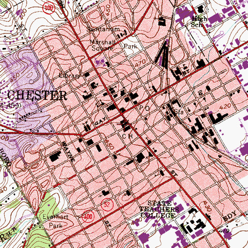 Topographic Map of West Chester Courthouse, PA