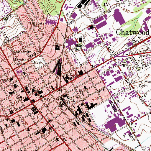 Topographic Map of West Chester Police Department, PA