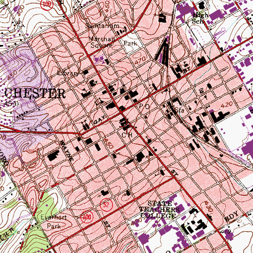 Topographic Map of West Chester Sheriffs Department, PA