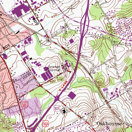 Topographic Map of West Chester Training Center, PA