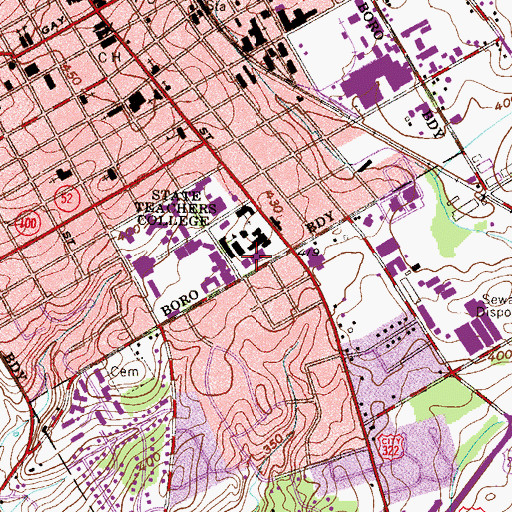 Topographic Map of West Chester University of Pennsylvania North Campus Library, PA