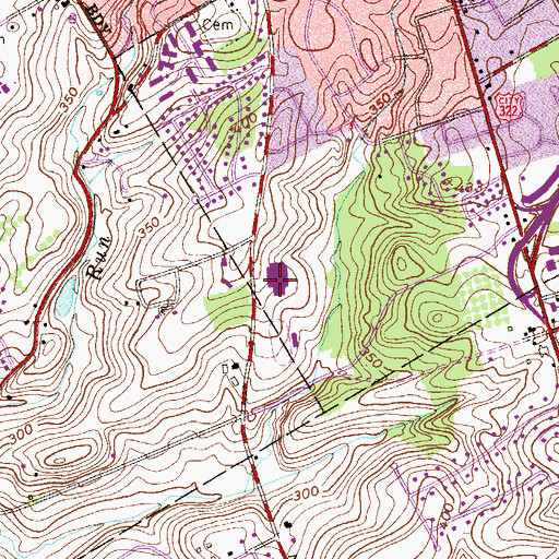 Topographic Map of West Chester University of Pennsylvania South Campus, PA