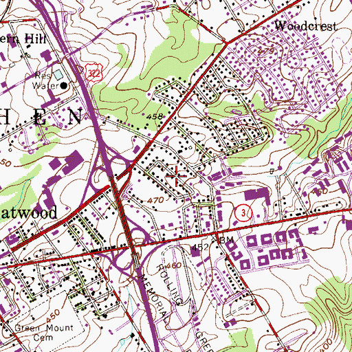 Topographic Map of West Goshen Hills, PA