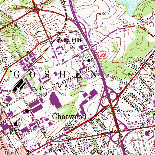 Topographic Map of West Goshen Park, PA