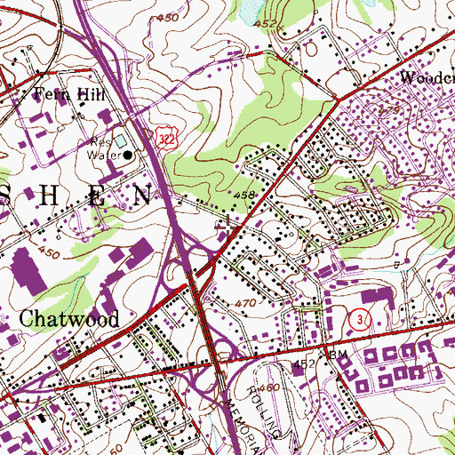 Topographic Map of West Goshen Township Building, PA