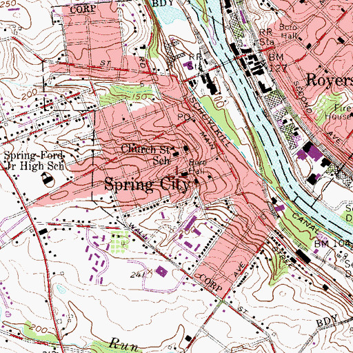 Topographic Map of Spring City Police Station, PA