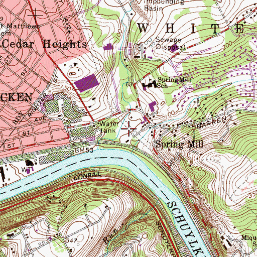 Topographic Map of Spring Mill Park, PA