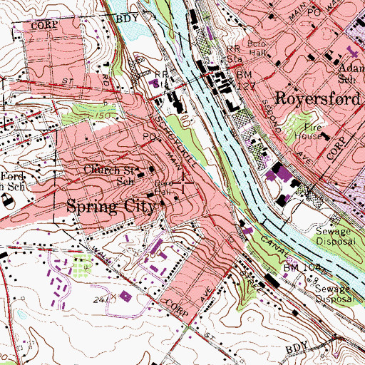 Topographic Map of Spring Mill Station 45 Fire Station, PA