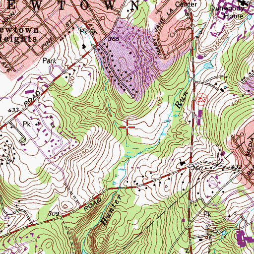 Topographic Map of Springton Pointe Woods, PA