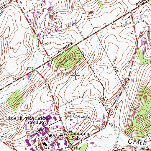 Topographic Map of Squire Cheyney Farm Park, PA