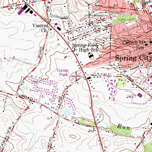 Topographic Map of Stony Run Mobile Home Park, PA