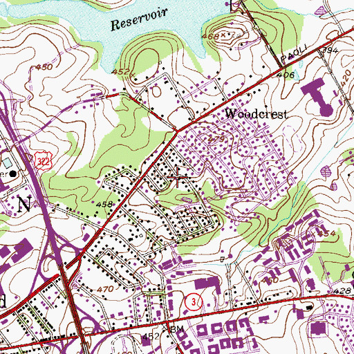 Topographic Map of Suburban Village, PA