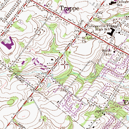 Topographic Map of Sugar Hill Farms, PA