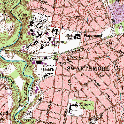 Topographic Map of Swarthmore Post Office, PA