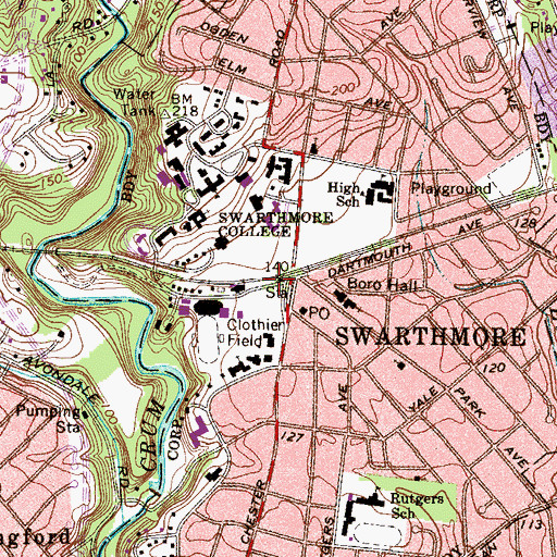 Topographic Map of Swarthmore Station, PA