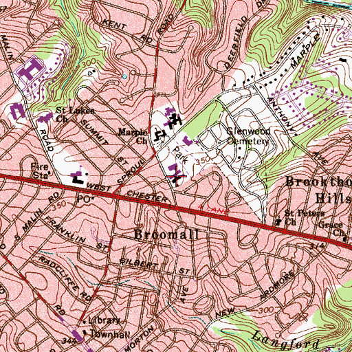 Topographic Map of Temple Sholom of Broomall, PA
