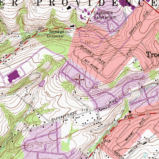 Topographic Map of The Estates of Audubon North, PA