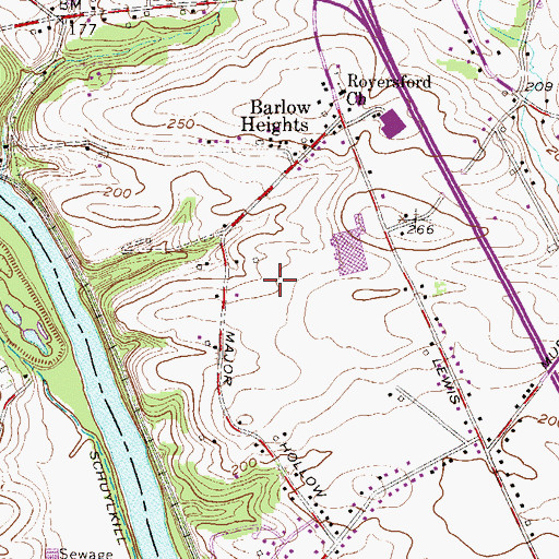 Topographic Map of The Glen at Greenfields, PA