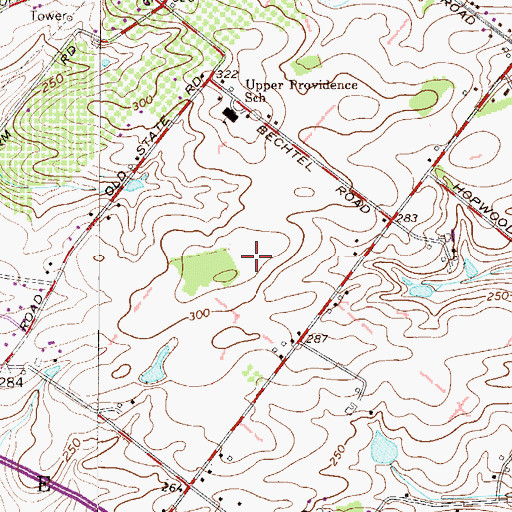 Topographic Map of The Meadows at Providence Reserve, PA