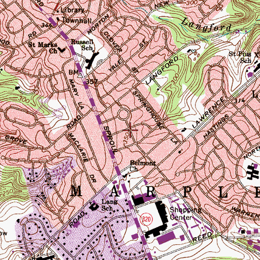 Topographic Map of Woods at Langford, PA