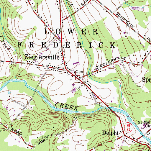 Topographic Map of Zieglerville Post Office, PA